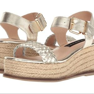 Steve Madden Gold Braided Espadrille Wedge Sandal